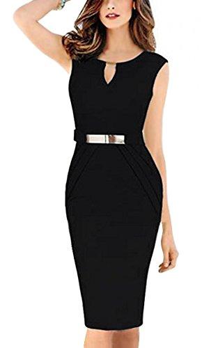 Babyonline Women Knee Length OL Business Party Bandage Bodycon Dresses,Black,Large