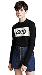 Bella Freud Women S 1970 Sparkle Crew Sweater Black X Small