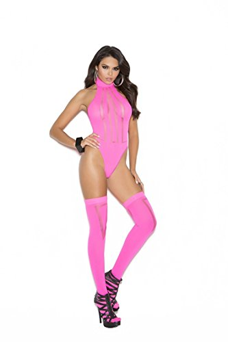 - 2 Piece Set Opaque and Sheer Teddy and Stockings - Neon Pink - One Size