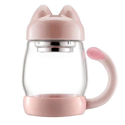 TMJJ Pink 420ml Glass Water Bottle Tea Beverage Bottle Wide Mouth with Handle,Cute Cat Shaped,Food-Grade PP,Leak Proof