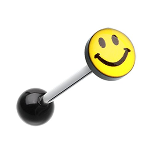 Smiley Face Logo Acrylic Freedom Fashion Barbell Tongue Ring