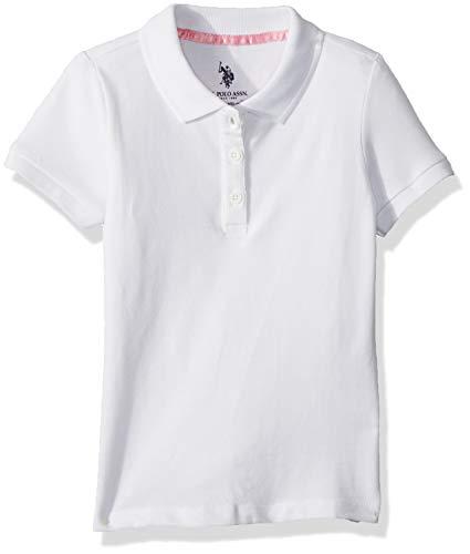 U.S. Polo Assn. Girls' Big Short Sleeve Stretch Pique Polo Shirt, White, - Shirt S/s Uniform