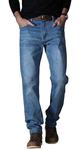 Port&lotus Men's Jeans Stretch Relaxed Fit Pant Designer Trousers 5-Pockets SBQ8177LIGHTBLUE 36