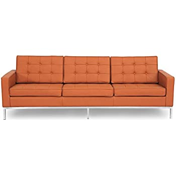 Kardiel Florence Knoll Style Sofa 3 Seat, Luxe Camel Genuine Leather