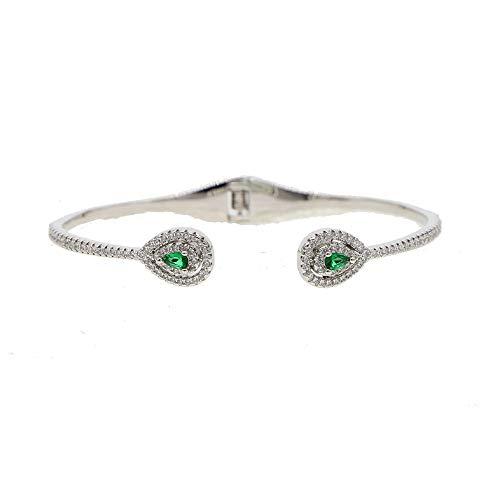 Women Bracelet | Natural Stone Bracelet | Snap Button Sorority Charm Drop Colorful Bangle | Gifts for Women (White Green cz)]()