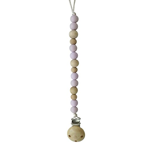 Lavender//Wood BPA-Free Sweetie Pie Design Eco-Friendly Silicone Pacifier Clip