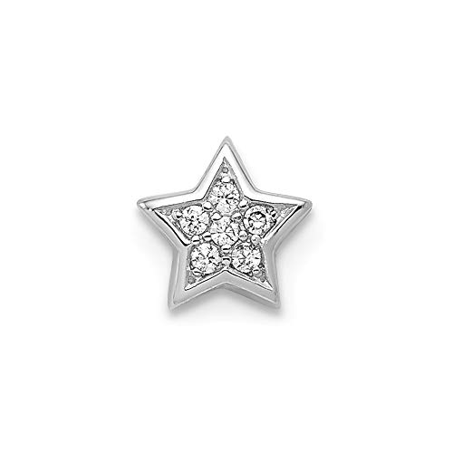 Star Charm Slide - Sterling Silver CZ Star Slide Charm Solid Pendants & Charms Jewelry