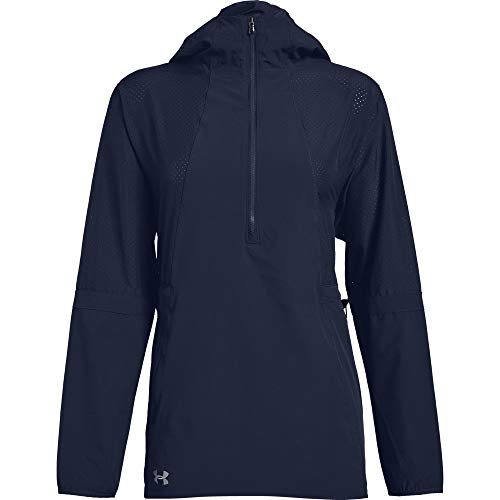 Under Armour Women's Squad Woven 1/2 Zip Jacket (Large, Midnight Navy)