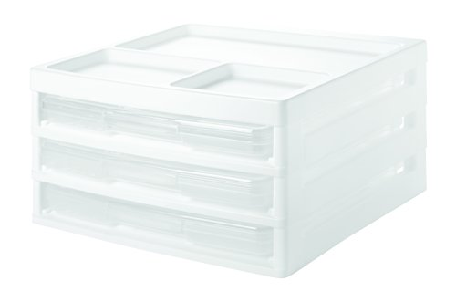 IRIS 3-Case Scrapbook Table Chest, White by IRIS USA, Inc.