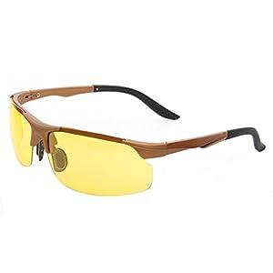 Laura Fairy New Design HD Night Vision Flexible Temple TR90 Frames Sunglasses-black (brown yellow)