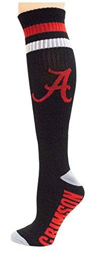 NCAA Alabama Crimson Tide Tube Socks, One Size, Black