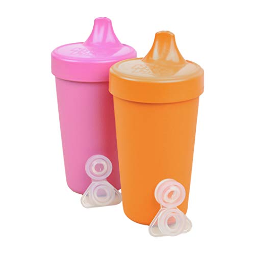 - Re-Play Made in The USA 2pk No Spill Sippy Cups Plus Bonus Replacement Valves for Baby, Toddler, and Child Feeding - Bright Pink/Orange