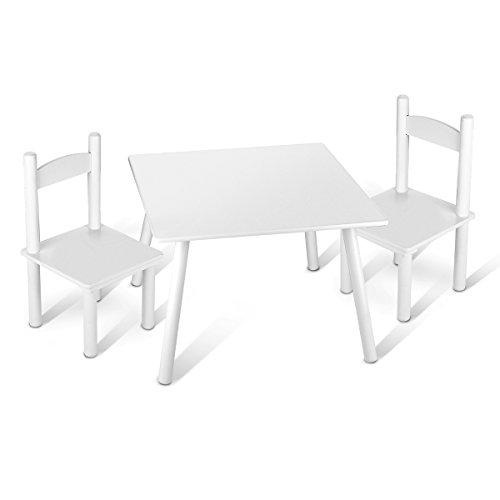 Leomark Mesa con 2 sillas Todo en Madera, Blancos Mesas y sillas Infantiles de Madera, Juego de Muebles Infantiles, para Cuarto de los ninos