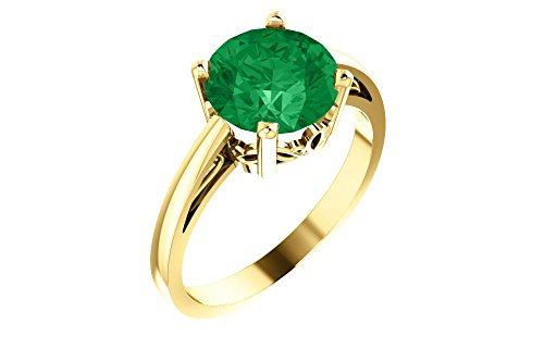 14k Yellow Gold Gem Quality Chatham Created Emerald Solitaire Gemstone Ring