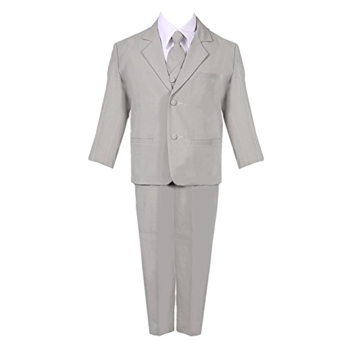 Bodice Vest (Big Boys Silver 5 Piece Classic Vest Jacket Pants Special Occasion Suit 12)