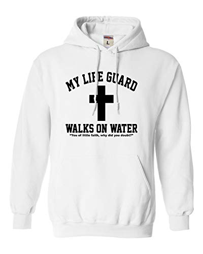 (Large White Adult My Life Guard Walks On Water Christian Easter Sweatshirt)