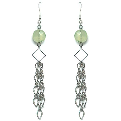 (Mint Green Round Quartz Stone and Long Silver Chain Hanging Chandelier Earrings | Handmade Modern Bohemian Fashion Jewelry for Women)