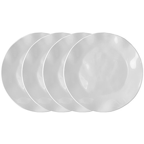 10.5 Melamine Plate (Q Squared Ruffle in Round BPA-Free Melamine Round Dinner Plate, 10-1/2 Inches, Set of 4, White)