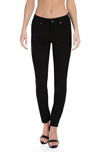 Earl Jean Women's Mid Rise Stretch Skinny Ankle Jeans (14, Black Denim)