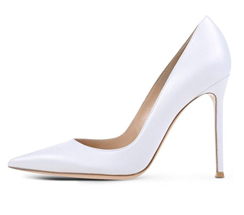 High Heel Prom Office Pumps 100mm Party EDEFS Basic Chocolate Fashion Handmade Womens Shoes White Elegant gvv8zx