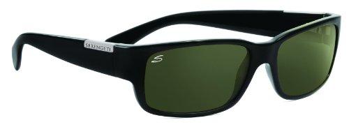 SERENGETI 7239 Merano Shiny Black Polar 555 NM 6 Base Sunglasses (555 Nm Polarized Lens)