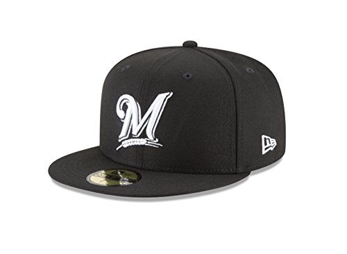 New Era 59Fifty Hat MLB Basic Milwaukee Brewers Black/White Fitted Baseball Cap (7)