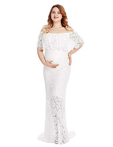 Women's Off Shoulder Short Sleeve Ruffles Lace Maternity Gown Maxi Photography Dress (White 1, Large)
