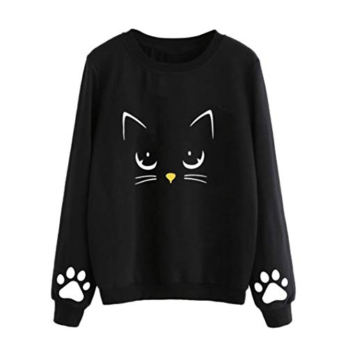 Rambling Women's Cat Print Sweatshirt Long Sleeve Loose Pullover Shirt Blouse