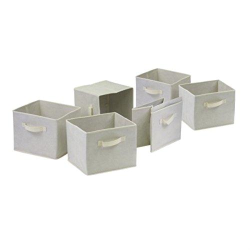 Ergode Capri 3-Section M Storage Shelf with 6 Foldable Beige Fabric Baskets