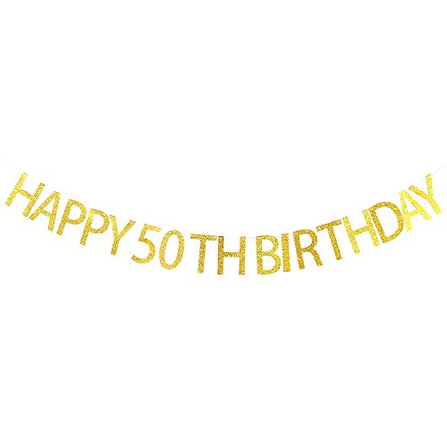 Happy 50th Birthday Banner - 50th Birthday Party Decorations Supplies