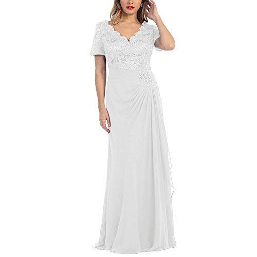The Women's Sleeve Dress S of V Gowns Formal Mother Ivory D Bride Neck Long Short H z0EPqz