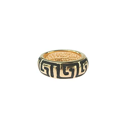 Providence Vintage Jewelry Greek Key Ring Antiqued 18k Yellow Gold Electroplated ()