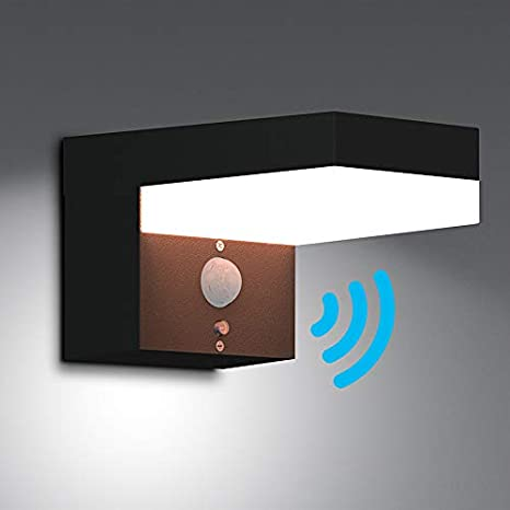NBHANYUAN Lighting® - Lámpara solar de pared con sensor de movimiento PIR (acero inoxidable