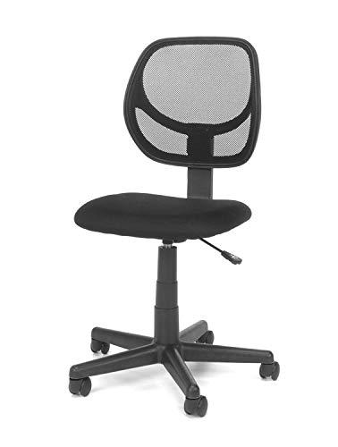 DK Furniture Armless Mesh Task Chair, Black