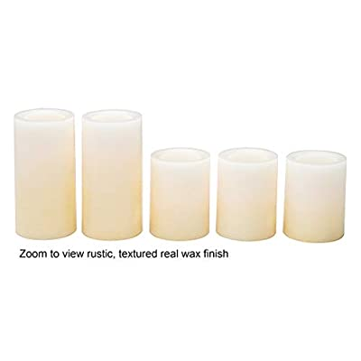 Candle Impressions Ombre Design Pillar Real Wax Flameless Candles w/Auto Timer Feature - Set of 5 - Buttercream: Home Improvement