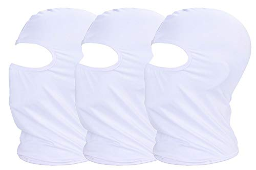 3 Pack Sun Dust UV Protection Face Scarf Mask for Cycling Outdoor Sports Balaclava Breathable Elastic Moisture Wicking(White)