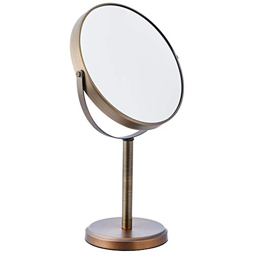AmazonBasics Modern Dual Sided Magnification Makeup Vanity Mirror, Tall, - Height Standard Mirrors Bathroom