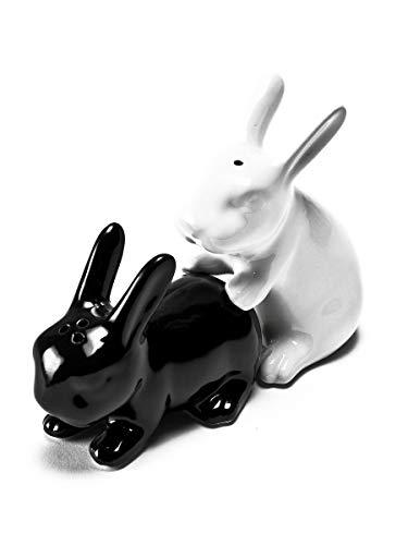 NPW-USA In Season Rabbit Salt and Pepper Shaker Set, Black/White (Salt Rabbit Pepper)
