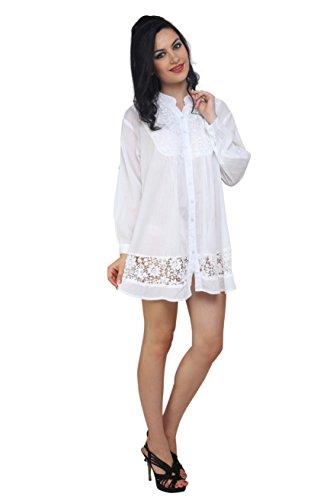 TrendzArt White Cotton Floral Eyelet Mandarin Collar Tunic Top Blouse Shirt (WH, Large) (Collar Long Sleeve Top)