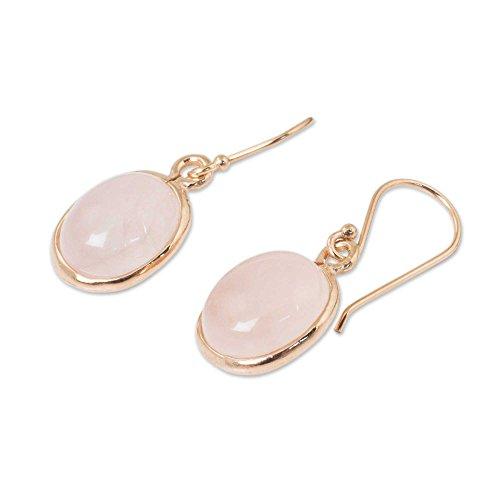 NOVICA Rose Gold Plated Sterling Silver and Rose Quartz Dangle Earrings, Morning Rose