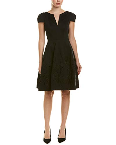 Halston Heritage Women's Short Sleeve Notch Neck Dress with Embellished Skirt, Black, 14