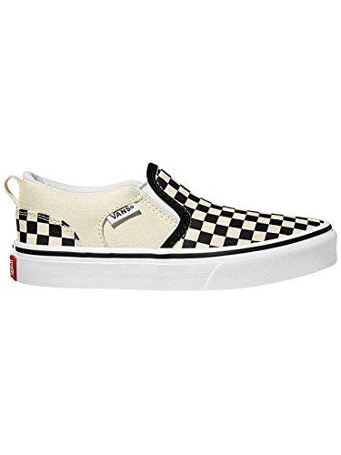 Vans EU Asher Checkers 5 Black 32 Blanc garçon Basses Natural Sneakers wFvArfw