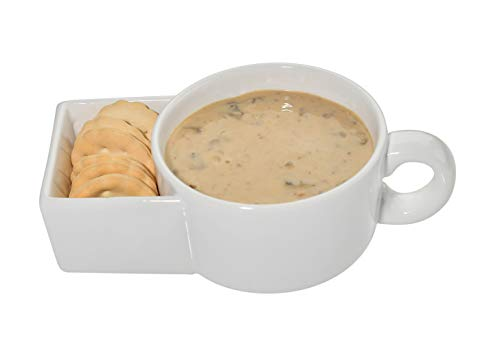 Home-X Soup and Crackers Ceramic Mug Bowl | Cookies and Milk, Veggie Snack & Dip Cup