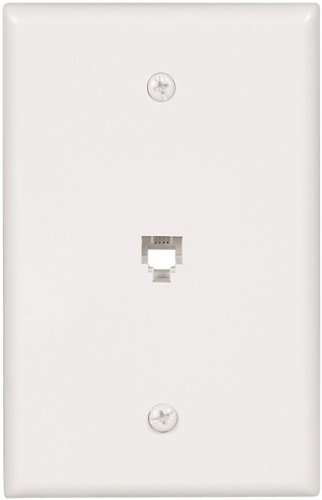 EATON Wiring 3533-4W-L Flush Mount Mid Size Wall Plate with Telephone Jack 4-Conductor, White