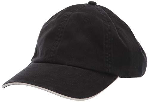 Sandwich Cotton Brushed Twill (Clementine Men's ULTC-8112-Brushed Cotton Twill Unconstructed Sandwich Cap, Black/Stone, One Size)