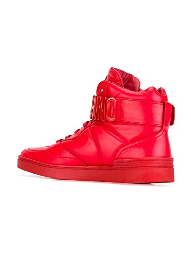 MOSCHINO HOMME 563549102 ROUGE CUIR BASKETS MONTANTES