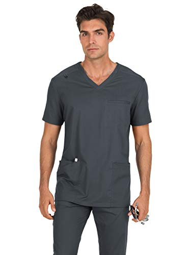 (KOI Stretch 665 Men's Tyler Scrub Top Charcoal M)
