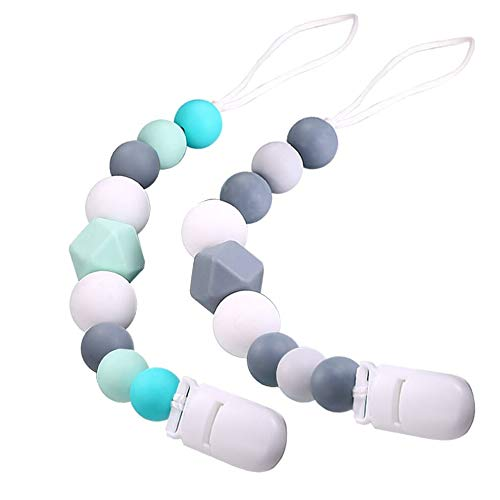 Ledes 2 Pack Silicone Pacifier Clip for Newborn Baby Boys Girls Infants Paci Clips Soothie Binky Pacifier Leashes Holder Teething Relief Teether Toy Birthday Christmas Shower Gift Green/Gray
