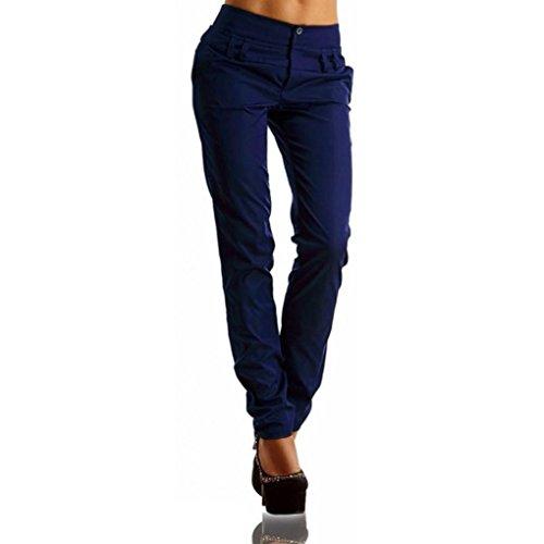 feiXIANG Frauen Buttons Hohe Taille Hosen Charming Elegante Casual Lange Freizeit Hosen Große Größe Blau