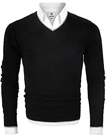 Men's V Neck Pullover Sweater Long Sleeve Cotton Casual Sweat Dress Black Small